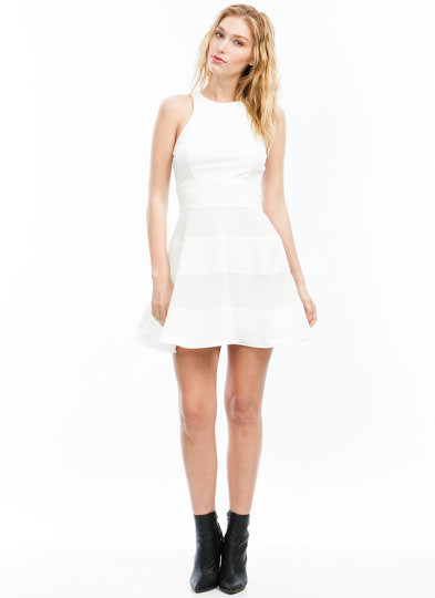 Mesh Around In Stripes Skater Dress OFFWHITE