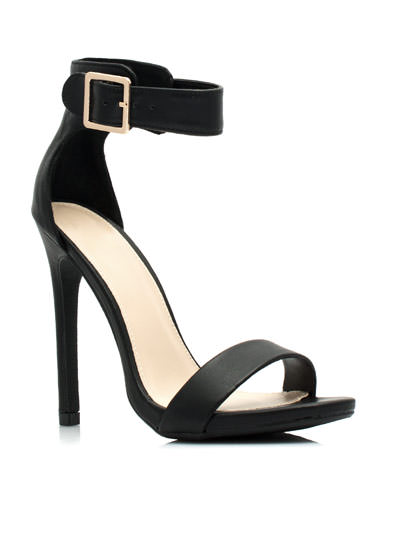 Strapped On Faux Leather Heels BLACK
