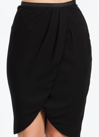 Tulip Petal Draped Skirt BLACK