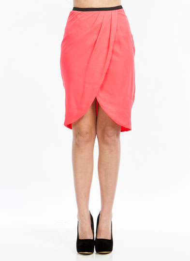 Tulip Petal Draped Skirt CORAL