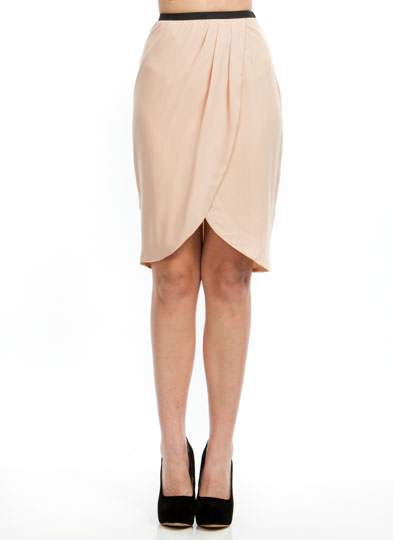 Tulip Petal Draped Skirt TAUPE