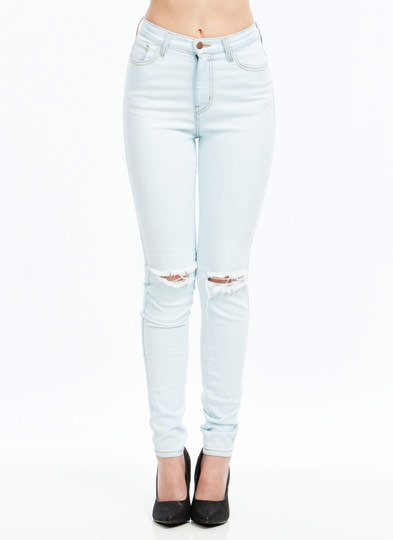 Take A Knee Distressed Jeans LTBLUE