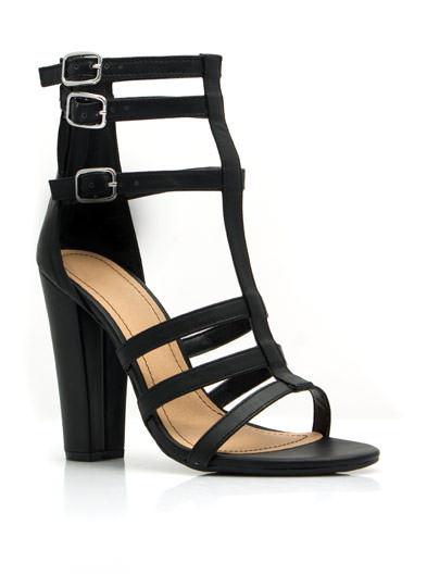 Strappy Endings Chunky Heels BLACK