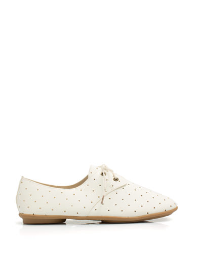 Lets Dance Perforated Jazz Flats WHITE