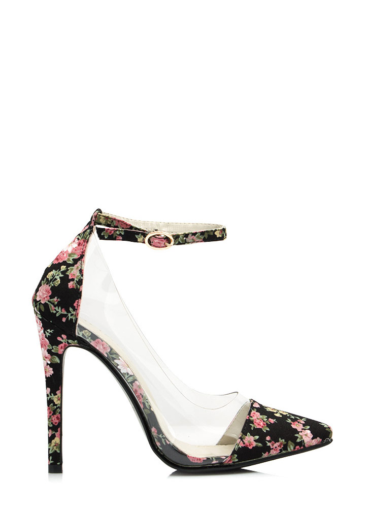 Clearly Prize Winning Roses Heels BLACK
