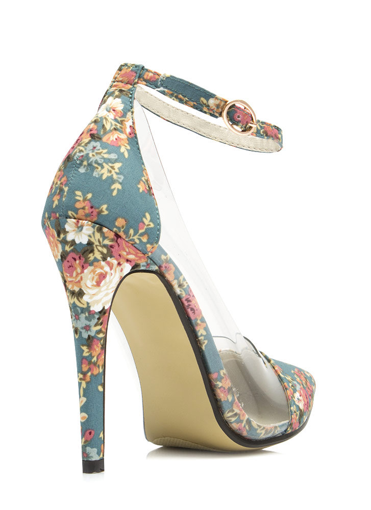 Clearly Prize Winning Roses Heels BLUE
