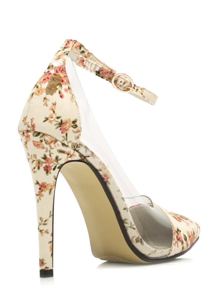 Clearly Prize Winning Roses Heels NUDE