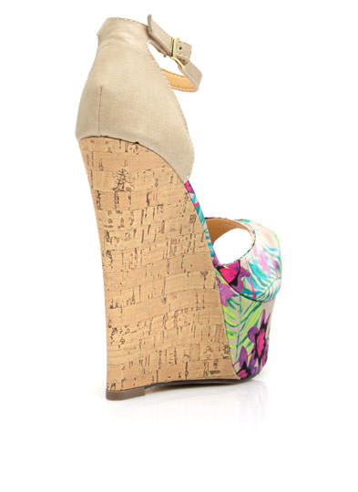 Tropical Oasis Faux Cork Wedges NUDE