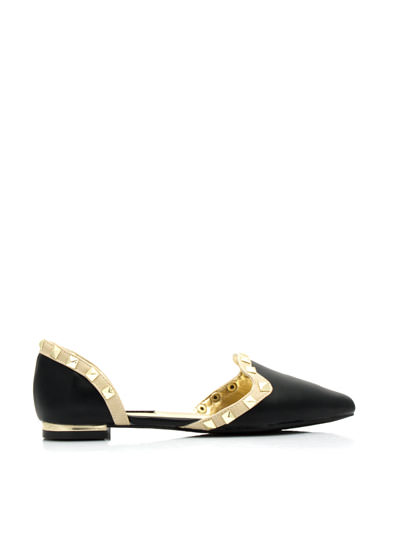 Studded Two-Tone Pointy Flats BLACK
