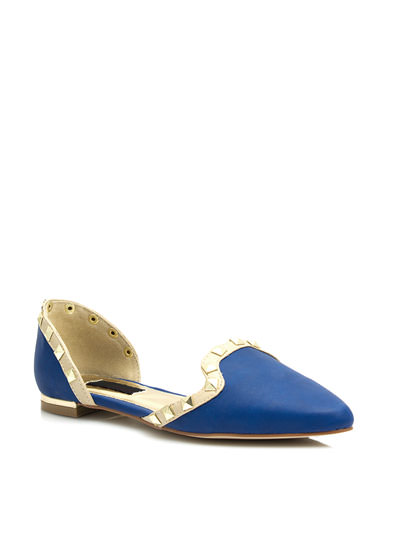 Studded Two-Tone Pointy Flats BLUE