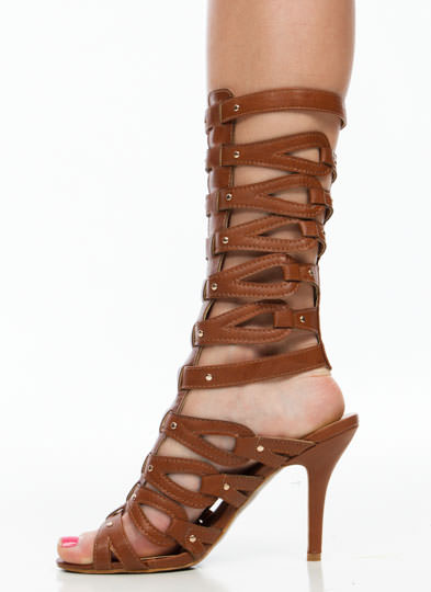 Loop Dreams Studded Gladiator Heels CAMEL