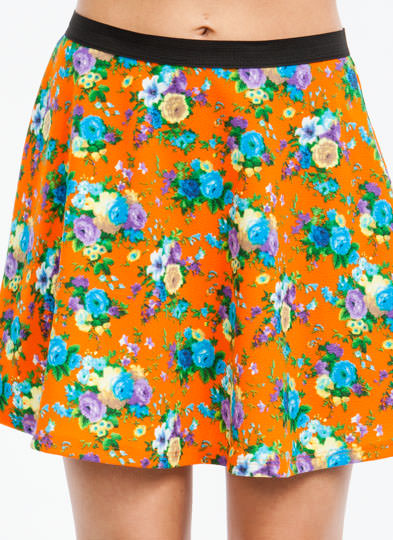 Flower Girl Textured Skater Skirt ORANGEYLLW