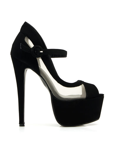 Hot Mesh Mary Jane Platforms BLACK