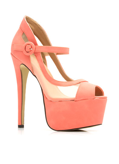 Hot Mesh Mary Jane Platforms CORAL