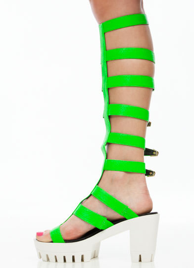 Arena Girl Gladiator Heels NEONGREEN