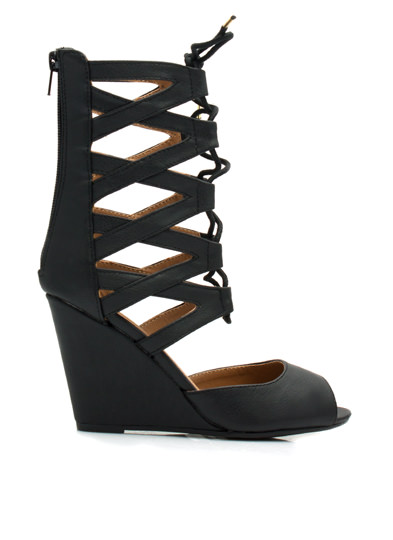 Make A Wishbone Lace-Up Wedges BLACK