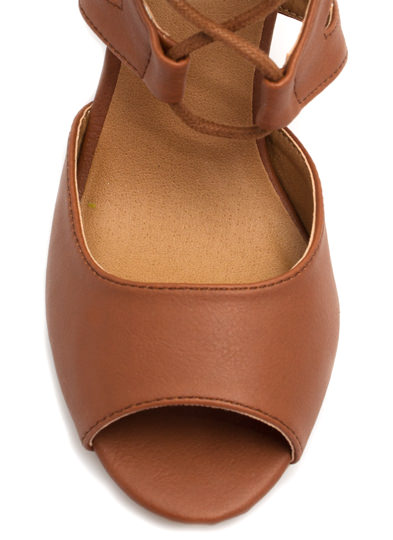 Make A Wishbone Lace-Up Wedges COGNAC
