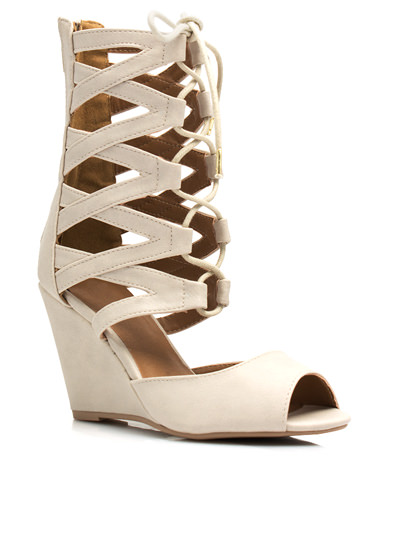 Make A Wishbone Lace-Up Wedges STONE