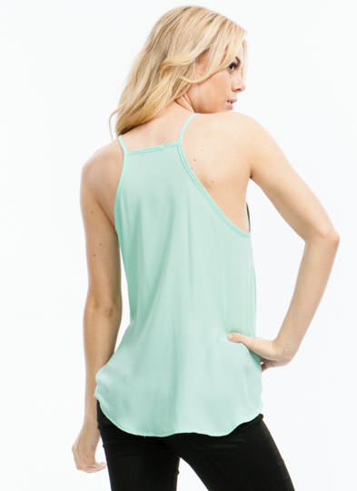 Let's Wrap Strappy Surplice Top MINT