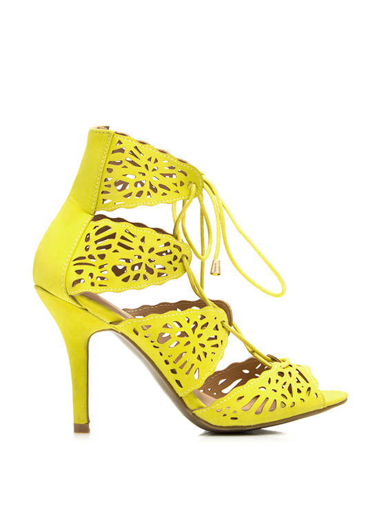 So Haute Laser Cut-Out Heels LIME