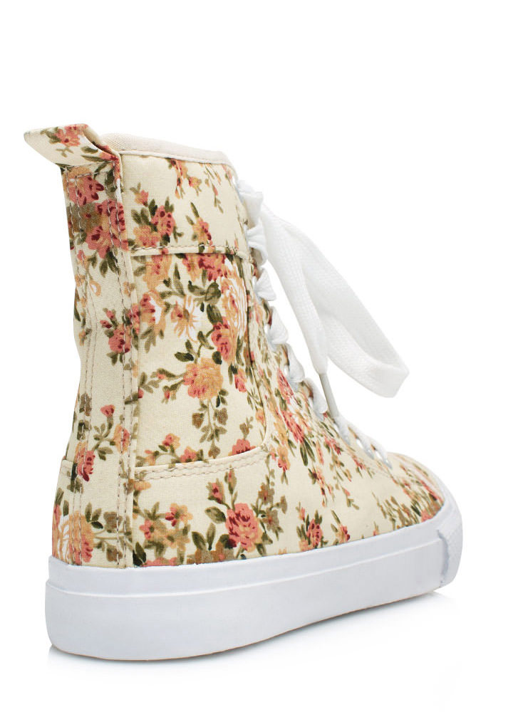 Floral High-Top Sneakers BEIGE