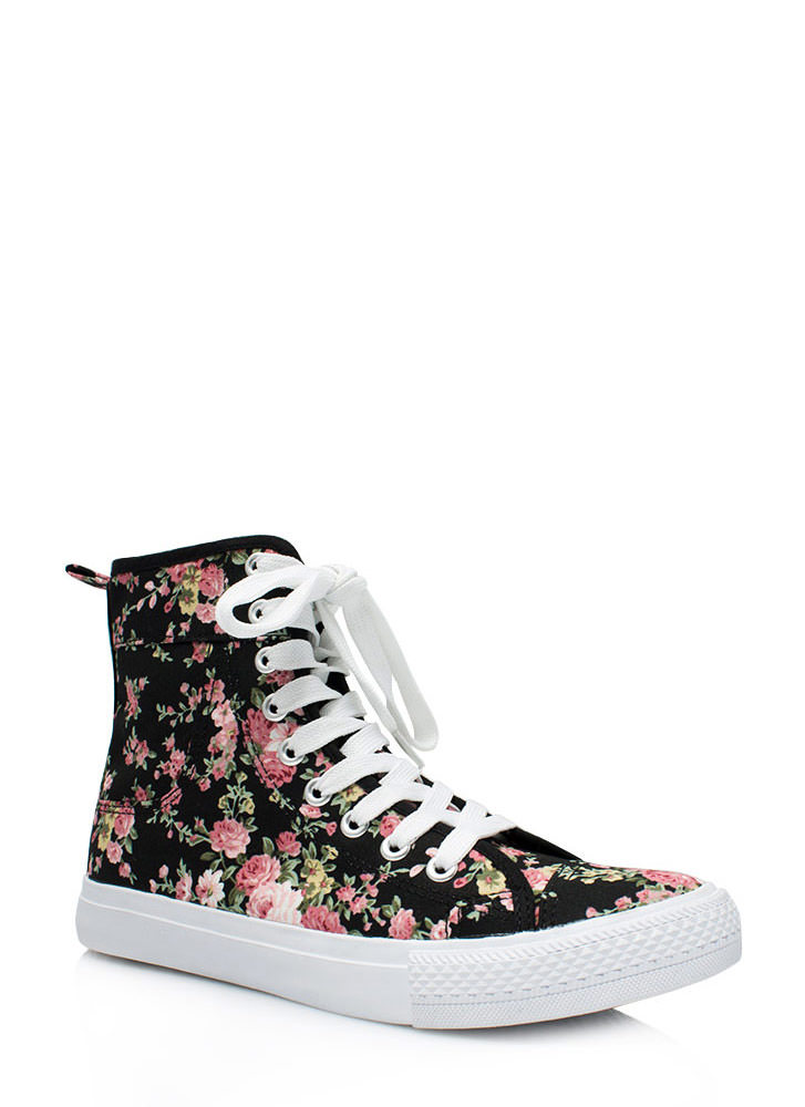 Floral High-Top Sneakers BLACK