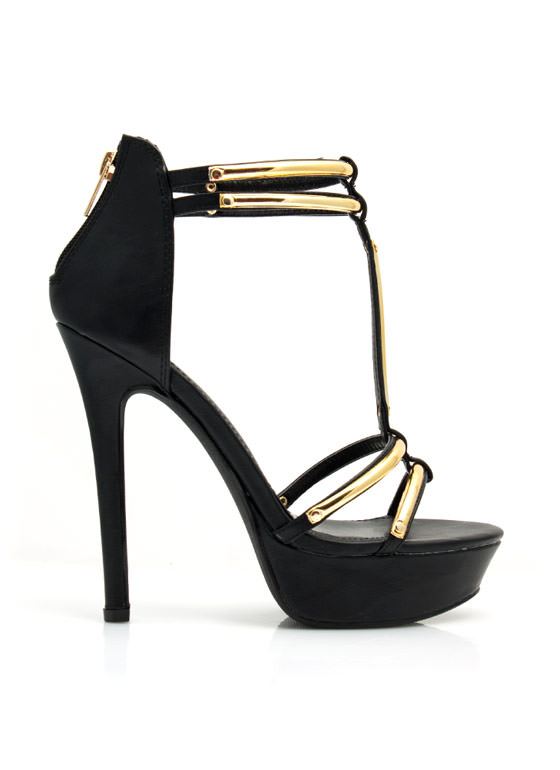 Hit The Bars Strappy Platform Heels BLACK