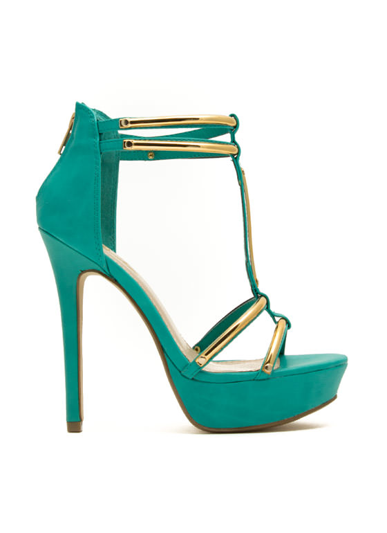 Hit The Bars Strappy Platform Heels TEAL