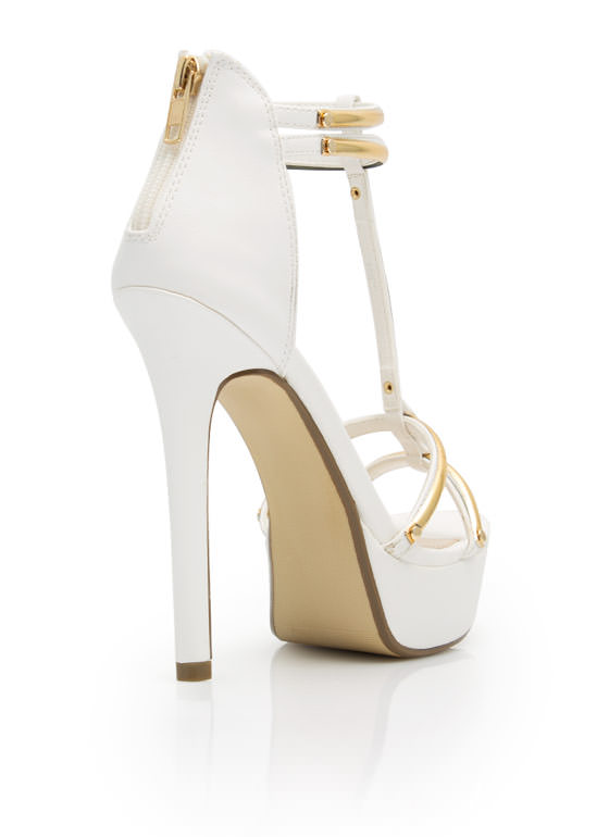 Hit The Bars Strappy Platform Heels WHITE
