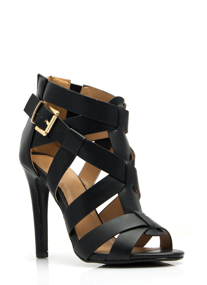Criss-Cross Me Strappy Heels BLACK