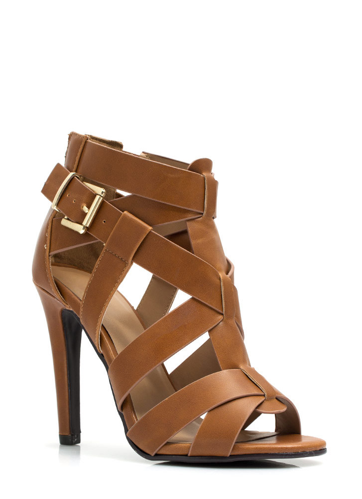Criss-Cross Me Strappy Heels TAN