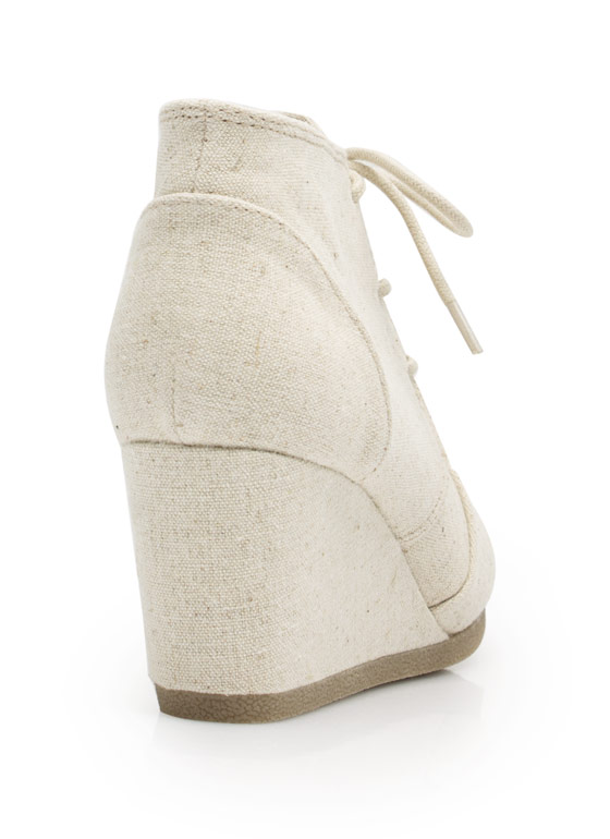 Fresh Linen Lace-Up Bootie Wedges DKBEIGE