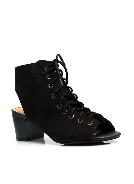 Bare Lace-Up Cut-Out Heels BLACK