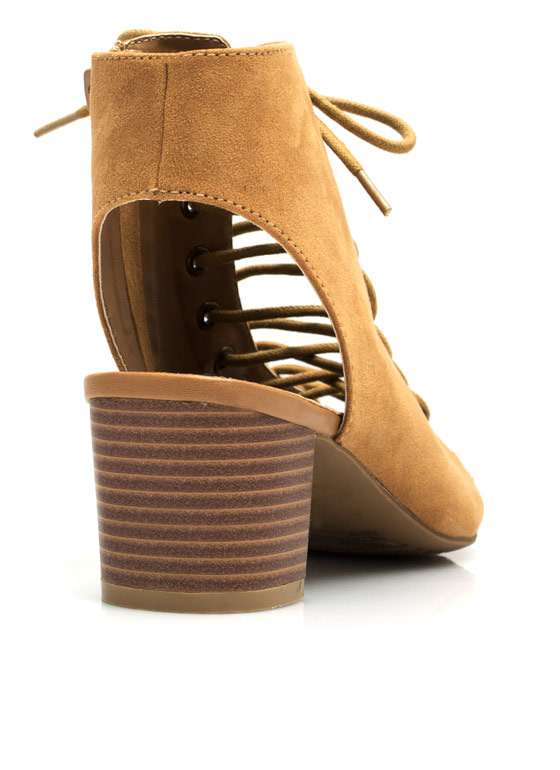 Bare Lace-Up Cut-Out Heels SAND
