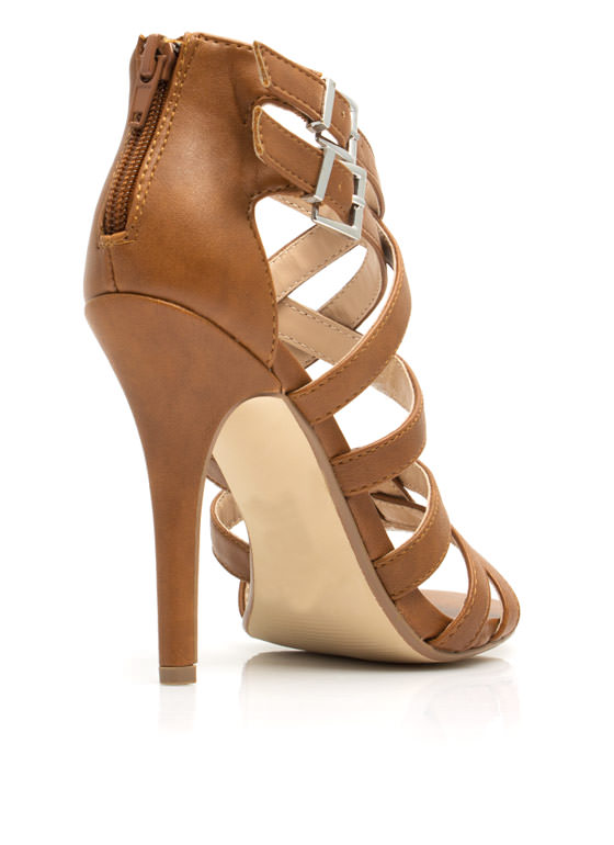 Over-Under Strappy Woven Heels CHESTNUT