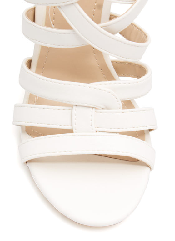 Over-Under Strappy Woven Heels WHITE