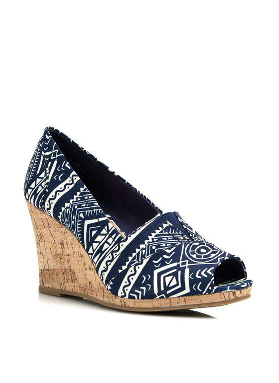 Going Tribal Faux Cork Wedges BLUE