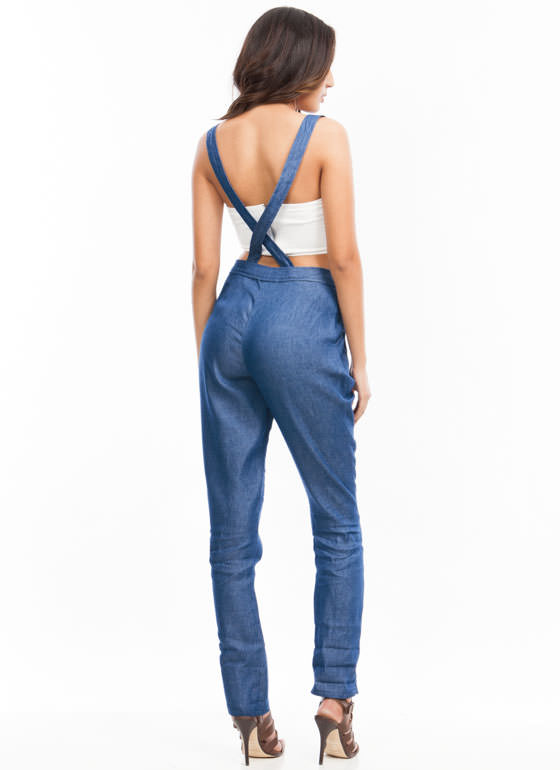 2 in 1 Chambray Jumpsuit BLUE