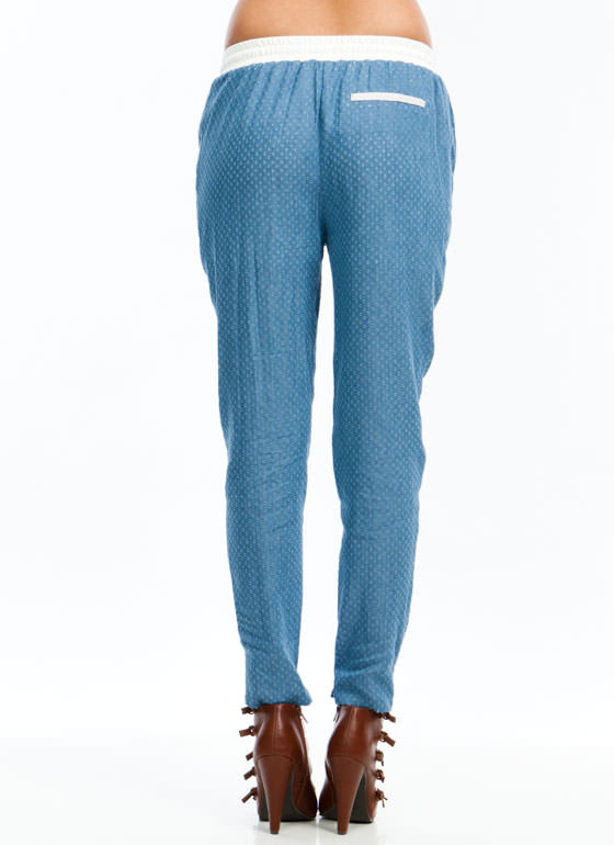 Perfectly Perforated Chambray Joggers BLUE