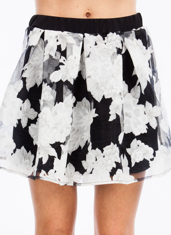 Flower Delivery Organza Overlay Skirt BLACK