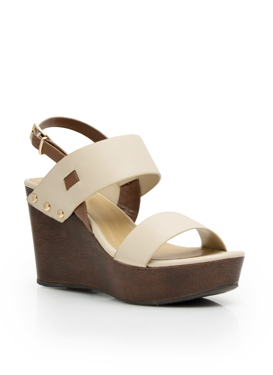 Wide Strap Faux Wood Wedges NUDE