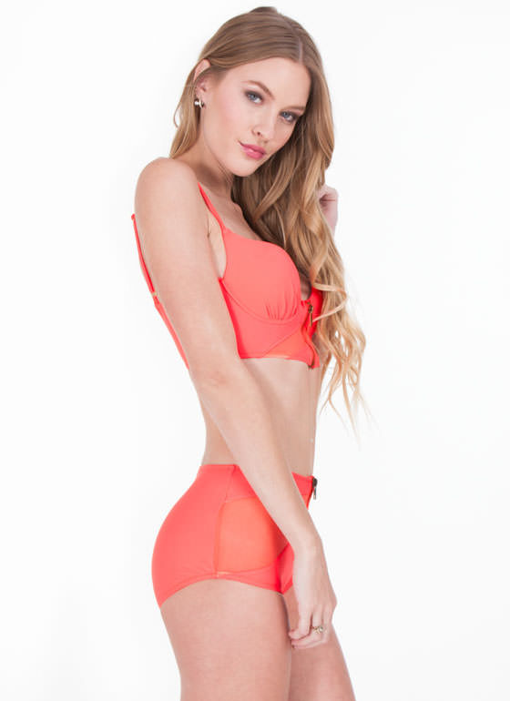 High-Waisted Zip N Mesh Bikini Set CORAL