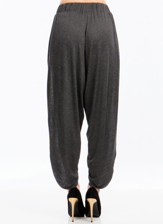 Split Second Petal Harem Pants CHARCOAL