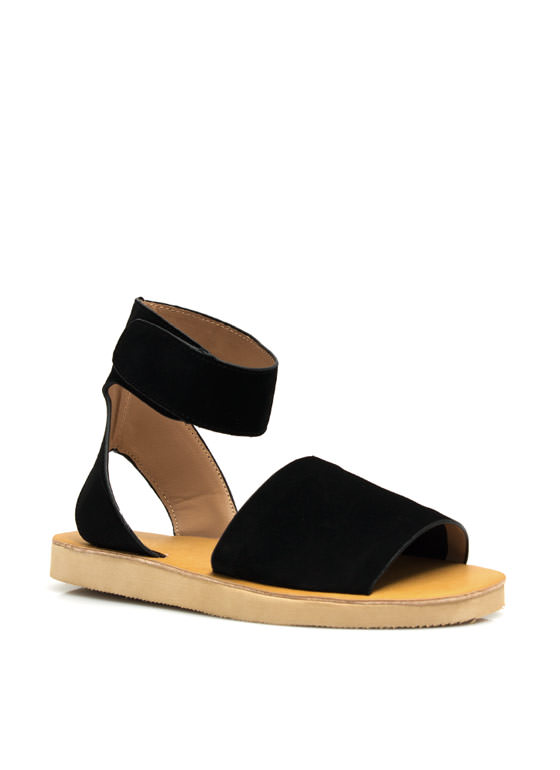 Smooth Sailing Ankle Cuff Sandals BLACK