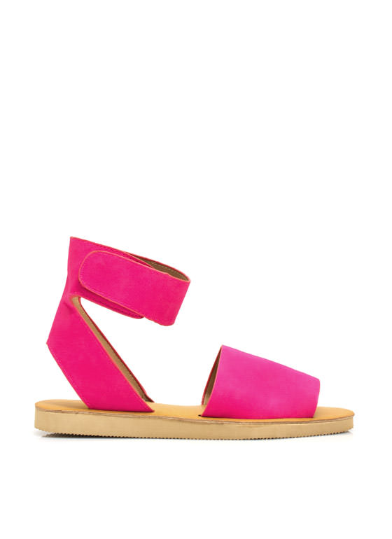 Smooth Sailing Ankle Cuff Sandals HOTPINK