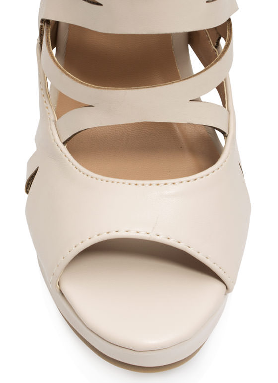 Tri To The Max Cut-Out Wedges NUDE