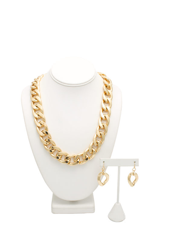 Big Chain Necklace Set GOLD