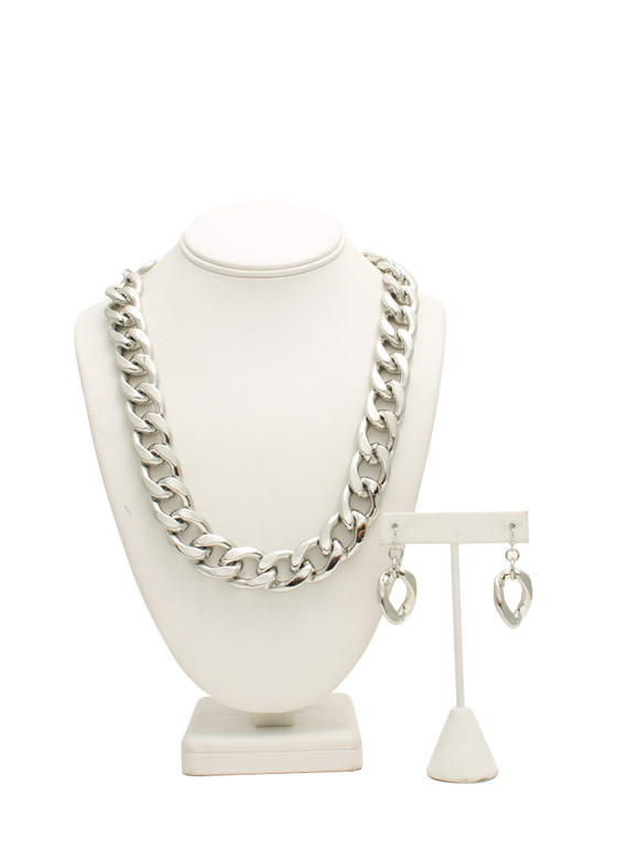 Big Chain Necklace Set SILVER