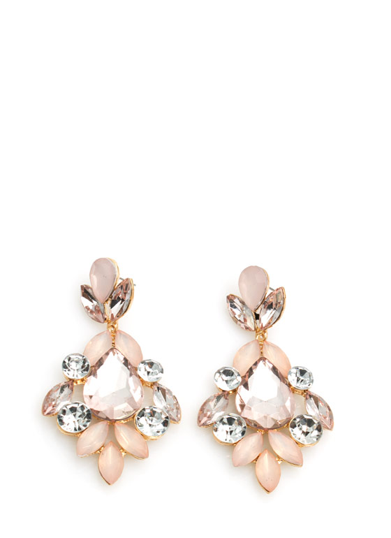 Glamorous Faux Jewel Earrings PINKGOLD