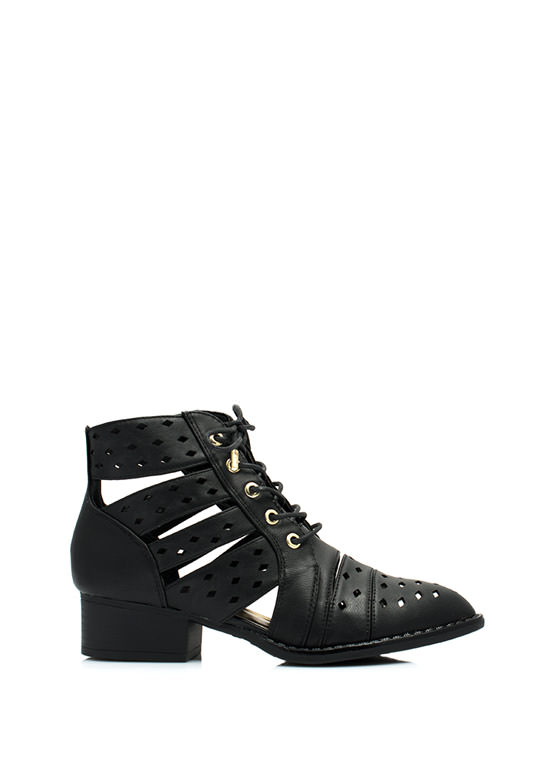 On My Level Laser Cut-Out Booties BLACK